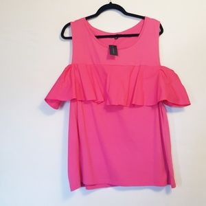 Lane Bryant | Hot Pink Cold Shoulder Ruffle Top 18